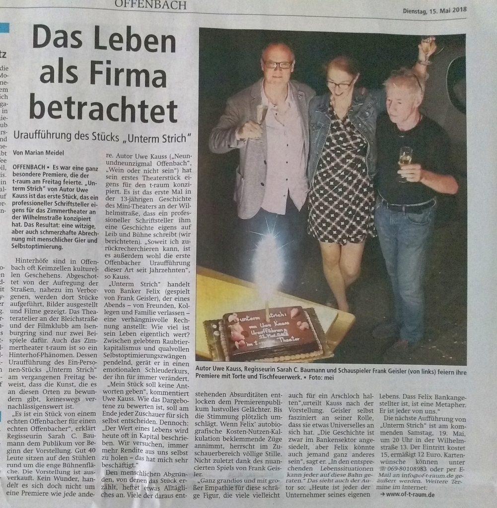 """Rezension """"Unterm Strich"""" vom 15.5.18 in der Offenbach Post"""